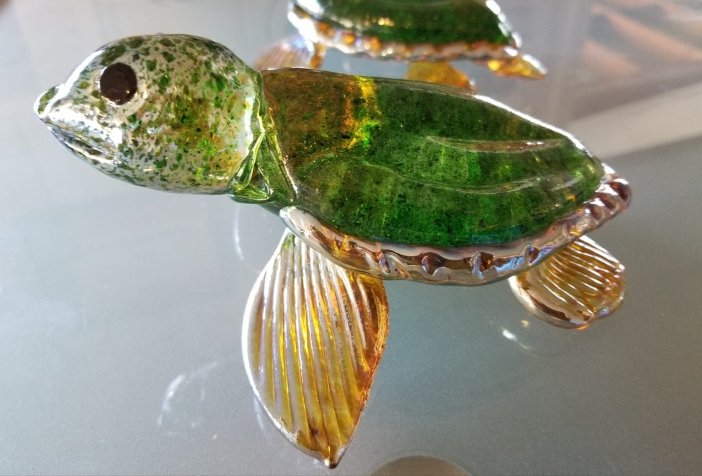 Glass Sculpture Sea Turtle
